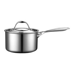 Cooks Standard - Cooks Standard Multi-Ply Clad Stainless-Steel 3-Quart Covered Sauce Pan NC-00218 - Cooks standard mulitclad stainless cookware features air-flow technology makes handle stay cooler than normal handle type. Constructed of clad metal of 3 layer: Interior lining is premium grade 18-10 stainless steel, core made of multi-element alloy aluminum for superior heat distribution, the core of aluminum goes from bottom all the way to side wall, stainless steel does not transmit heat quickly but aluminum does. Aluminum is soft and dents easily, stainless steel is hard and strong. This means you get the toughness of stainless steel with the even heat distribution of aluminum. Exterior is scratch resistant brushed treatment, bottom is also compatible to conduction stovetop, this cookware is dishwasher safe.