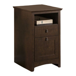 Bush - Bush Buena Vista 2 Drawer Pedestal Filing Cabinet in Madison Cherry - Bush - Filing Cabinets - MY1385203 - A tasteful addition to any home office or executive suite. Pile on the work and keep it handy. Versatile go-anywhere Bush Furniture Buena Vista Madison Cherry 2-Drawer Pedestal offers open and concealed storage. Open cubby and box drawer keep paper or supplies at your fingertips. As an add-on the solid beveled top is standard height for level work surfaces and handles heavy loads without sagging. Aged bronze metal hardware is stylish and functional. Elegant post leg design and curved base-rails blend with most d��cor. Mix and match with other pieces from the Buena Vista collection. Backed by the Bush Furniture 1-year Manufacturer's Warranty.