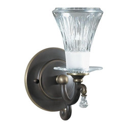 None - Olde Bronze Wall Sconce - This stylish light fixture is perfect for accent lighting in any room or hallwayOne-light armed wall sconce features Olde Bronze finish, cut glass shadeLight fixture uses one (1) 60-watt candelabra base bulb (not included)