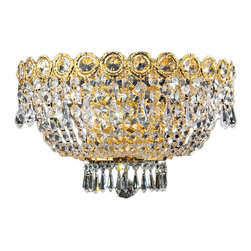 Worldwide Lighting - Empire 3 light  Gold Finish with Clear Crystal Wall Sconce - This stunning 3-light wall sconce only uses the best quality material and workmanship ensuring a beautiful heirloom quality piece. Featuring a radiant gold finish and finely cut premium grade crystals with a lead content of 30%, this elegant wall sconce will give any room sparkle and glamour. Worldwide Lighting Corporation is a premier designer manufacturer and direct importer of fine quality chandeliers, surface mounts, and sconces for your home at a reasonable price. You will find unmatched quality and artistry in every luminaire we manufacture.