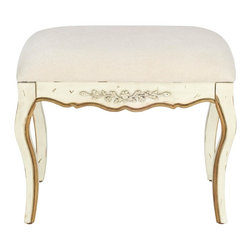 Safavieh - Diane Stool - The Diane Stool is an ode to centuries-old romance and feminine aristocratic splendor with its antique white distressed finish atop birch wood. The Diane Stool boasts a white cotton seat and the extra embellishment of luxurious gold trim on its carved French frame.
