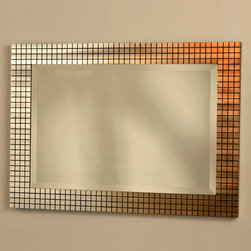 NOVA Lighting - Bronze Grid Wall Mirror - Bronze Grid Wall Mirror. Product Dimensions: 31H x 2H x 44W Finish: bronze, brushed aluminum and beveled mirror