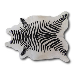 Kaymanta - White Zebra | Natural Hide Rug | Animal Print Cowhide Leather Rug - White Zebra | Natural Hide Rug | Natural Cowhide Leather Rug