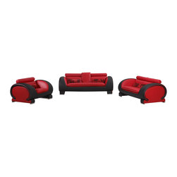 VIG Furniture - 2811 Two-Tone Red & Black Bonded Leather 3 Piece Sofa Set - The 2811 sofa set is a great addition for any living room that needs a touch of modern design. This sofa set comes upholstered in a beautiful two-tone red and black bonded leather. High density foam is placed within the cushions for added comfort. The sofa set consist of a sofa, loveseat, and chair only.