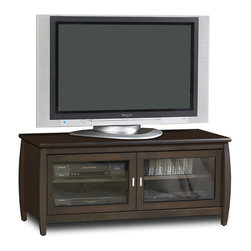 "Tech Craft - Tech-Craft Veneto 48"" LCD/Plasma TV Stand in Walnut Finish - Tech Craft - TV Stands - SWP48. This transitional style wide Tech-Craft 48 inch Veneto series walnut finish wood TV stand has a European flair that is perfect for any decor. An ideal way to showcase your television and house accompanying components this Veneto Series TV Stand features a bold bowed cabinet front an overhang top and sleek metal hardware."