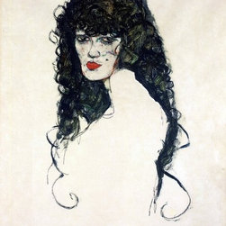 "Schiele Portrait of a Woman with Black Hair   Print - 16"" x 24"" Egon Schiele Portrait of a Woman with Black Hair premium archival print reproduced to meet museum quality standards. Our museum quality archival prints are produced using high-precision print technology for a more accurate reproduction printed on high quality, heavyweight matte presentation paper with fade-resistant, archival inks. Our progressive business model allows us to offer works of art to you at the best wholesale pricing, significantly less than art gallery prices, affordable to all. This line of artwork is produced with extra white border space (if you choose to have it framed, for your framer to work with to frame properly or utilize a larger mat and/or frame).  We present a comprehensive collection of exceptional art reproductions byEgon Schiele."
