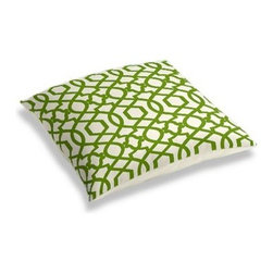Green Velvet Flocked Trellis Custom Floor Pillow - A couch overflowing with friends is a great problem to have.  But don't just sit there: grab a Simple Floor Pillow.  Pile em up for maximum snugging or set around the coffee table for a casual dinner party. We love it in this kelly green velvet flocked trellis in on cream cotton that adds subtle texture and warmth to your room.