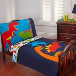 Carter's - Carter's Prehistoric Pals 4-Piece Toddler Bedding Set - T-Rex and all his friends prance around on this adorable bedding set in pops of yellow, navy, orange, red and bright blue. The set includes a comforter, top sheet, fitted sheet and pillow case.