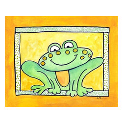 Oh How Cute Kids by Serena Bowman - Here's Looking at You - Frog, Ready To Hang Canvas Kid's Wall Decor, 16 X 20 - Who's looking at you?  Mr. Frog, that's who!