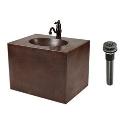Premier Copper Products - 24 in. Hand Hammered Copper Wall Mount Vanity - 24 in. Hand Hammered Copper Wall Mount Vanity. Single Handle Bathroom Faucet - Oil Rubbed Bronze Finish. 1.5 in. Non-Overflow Grid Bathroom Sink Drain - Oil Rubbed Bronze Finish. Care Instructions includedWall Mount Vanity Product Details:. Design: Hammered Copper Surface with Built In Sink. Color: Oil Rubbed Bronze. Outer Dimension: 24 in. x 18 in. x 24.75 in. . Built In Sink Dimensions: 15 in. x 11 in. x 16 in.. Back of Vanity Opening: 16 in. X 16 in.. Drain Size: 1.5 in.. Installation Type: Wall Mount. Hand Made. 100% Recyclable. Composition: 99.7% Pure Recycled Copper. Lead Free (less than .01%). Patina: Fired. Packaging: Recycled Cardboard Box. Note: Faucet and Drain Do Not Come Pre-Installed. Warranty: Limited Lifetime. Note: This product is 100% hand made, small variances in size and color may occurFaucet Product Details:. Solid Brass Construction. Drip Free Ceramic Disc Cartridges. Finish: Oil Rubbed Bronze. Overall Height: 6.75 in.. Overall Width: 7.68 in.. Spout Height: 2.68 in.. Spout Reach: 6.75 in.. Maximum Deck Thickness: 2.25 in.. Mounting Shank Length: 2.5 in.. Mounting Shank Diameter: 1.25 in.. Number of Handles: 1. Faucet Weight: 3.2 LBS. Flow Rate: 2.2 GPM. Valve Type: Ceramic Disc. Installation Type: Deck-Mount. Faucet Holes: 1. Escutcheon: None. Spout Swivel: No. Connections: Standard US Plumbing Connections. NSF/ANSI, CUPC, ADA, Low Lead Compliant (California AB-1953). Warranty: Limited LifetimeDrain Product Details:. Configuration: Non-Overflow. Design: Teardrop Grid. Color: Oil Rubbed Bronze. Down Pipe Width: 1.25 in.. Upper Flange Dimension: 2.125 in.. Overall Length: 8.375 in.. Thread Length: 2.5 in.. Installation Type: Compression Threaded. Material: Brass. Drain Size: 1.5 in.Premier Copper Products introduces our new hand hammered copper wall mount vanities with the sink built into the vanity. This simple style vanity is perfect for smaller bathrooms and powder rooms. Copper's antibacterial and antimicrobial properties allow this vanity to be easily cared for - never having to use harsh chemicals that are harmful to people and the environment. Endlessly recyclable, this vanity will never take up space in a landfill like other stone and porcelain products. It will not only be an eye catching art piece in your bathroom, but it will be an eco-friendly product that will endure for generations.