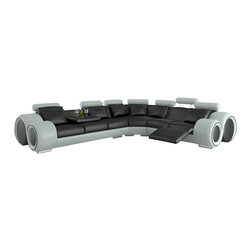 Tosh Furniture - Franco Bonded Leather Sectional Sofa - Black / White - The aggressive styling found on this beautifully crafted leather sectional sofa by Tosh Furniture is in a class all its own. The two tone color combinations and chunky brushed chrome legs bring the entire look together. You'll appreciate the comfort provided via the adjustable headrests and the quality is impeccable. This is a sofa you'll want to show off at every opportunity and the solid hardwood framing ensures those opportunities for many years.