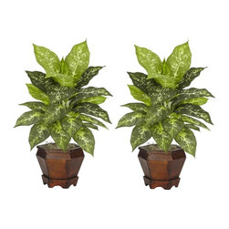 Dieffenbachia with Wood Vase Silk Plant (Set of 2) - The sharp contrasts of the two-tone leaves will definitely draw the appreciative plant lover's eye from anywhere in a room. The bold leaves that make up these silk plants are large and in charge, and are coupled with an equally impressive planter. Easy to take care of and effortless to manage, this is one set of plants that you'll want to add to your collection. Arrives with two pieces. Height= 20.5 in x Width= 14 in x Depth= 12 in