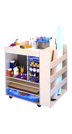 "Whitneybrothers - Whitney Brothers Home Kids Children Art Supply Unit - A great solution for art projects and classroom clutter, just roll this art cart over to the next art project. Two sides has shelves and compartments for supplies and paper. The third side includes a deep bay for storing paper rolls. Large Shelves - 23"" W x23.7 deep, Medium shelves 15"" W x11.8"" deep, small shelves 7.5"" W x11.8"" deep, side pocket 23"" W x5"" deep. Birch plywood construction and heavy-duty casters. Ships fully assembled. Ships by truck. Made in USA. GreenGuard Certified. Lifetime Warranty."
