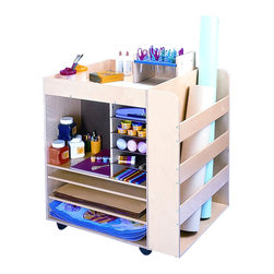 """Whitneybrothers - Whitney Brothers Home Kids Children Art Supply Unit - A great solution for art projects and classroom clutter, just roll this art cart over to the next art project. Two sides has shelves and compartments for supplies and paper. The third side includes a deep bay for storing paper rolls. Large Shelves - 23"""" W x23.7 deep, Medium shelves 15"""" W x11.8"""" deep, small shelves 7.5"""" W x11.8"""" deep, side pocket 23"""" W x5"""" deep. Birch plywood construction and heavy-duty casters. Ships fully assembled. Ships by truck. Made in USA. GreenGuard Certified. Lifetime Warranty."""