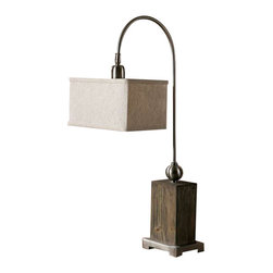 Uttermost Abilene Wooden Accent Lamp - Aged wood with a light gray wash, brushed nickel plated details and a pivoting shade. Aged wood with a light gray wash, brushed nickel plated details and a pivoting shade. The rectangle box shade is an oatmeal linen fabric with dark gray slubbing.