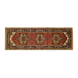 Manhattan Rugs - New Pakistani Art Super Kazak 3' X 10' Hand Knotted Wool Red Persian Rug H5155 - Kazak (Kazakh, Kasak, Gazakh, Qazax). The most used spelling today is Qazax but rug people use Kazak so I generally do as well.The areas known as Kazakstan, Chechenya and Shirvan respectively are situated north of Iran and Afghanistan and to the east of the Caspian sea and are all new Soviet republics. These rugs are woven by settled Armenians as well as nomadic Kurds, Georgians, Azerbaijanis and Lurs. Many of the people of Turkoman origin fled to Pakistan when the Russians invaded Afghanistan and most of the rugs are woven close to Peshawar on the Afghan-Pakistan border.There are many design influences and consequently a large variety of motifs of various medallions, diamonds, latch-hooked zig-zags and other geometric shapes. However, it is the wonderful colours used with rich reds, blues, yellows and greens which make them stand out from other rugs. The ability of the Caucasian weaver to use dramatic colours and patterns is unequalled in the rug weaving world. Very hard-wearing rugs as well as being very collectable