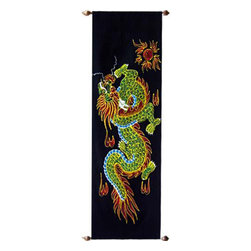 Oriental-Décor - Dancing Dragon - This colorful and dancing Chinese dragon has had strong associations with Chinese culture for over a thousand years. Dragons were once thought of as the rulers of weather and moving bodies of water in China. Use this vibrant and artistic Oriental scroll painting to add a splash of life to any wall.