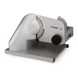 Chef's Choice - Chef's Choice Professional Electric Food Slicer Model 640 - Chef's Choice-International, Professional Electric Food Slicer #640: This professional food slicer offers you many features found in commercial units, including a powerful, extremely quiet 124 watt condenser motor, gear drive, and rugged key components of aluminum and stainless steel construction. The fully hardened, multi-purpose 7 inch (approx. 17 cm.) diameter stainless steel blade effortlessly and efficiently slices breads, meats, cheeses, fruits and vegetables from deli-thin to 1/2 inch. The cantilevered design accepts larger trays and makes cleaning-up easy. The food carriage retracts fully for slicing extra large roasts, hams and other foods. A lockout switch is provided to limit access. Includes a serving tray.