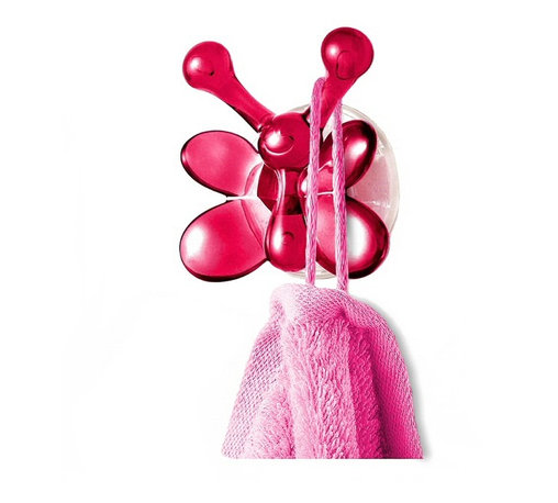 Push Lock Hook - Butterfly Lisa, Cassis - German engineering has created this cute, functional butterfly hook. Hang your towels, washcloths or wet bathing suits on the sturdy antennae and marvel that the insect-cum-suction cup hook that can hold up to 10 pounds of weight!