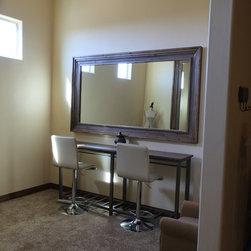 "Superstition Manor Wedding & Event Hall - Bridal suite makeup mirror. (Specs: 8.5"" Silverton profile in Weathered Alder 48"" x 96"" int dim 63"" x 111"" ext dim)"