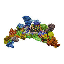 """Glass Tile Oasis - Coral Reef Topview Pool Accents Multi Color Pool Glossy Glass - Sheet size: 55"""" x 93"""""""
