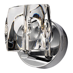 "ET2 - ET2 Neo Collection Chrome Crystal Wall Sconce - Add some new brilliance and shine to your wall with this stunning sconce from ET2. It features a chrome finish paired with crystal glass for a look that will draw attention in your decor. Chrome finish. Crystal glass. Includes one 20 watt G4 xenon bulb. 5"" wide. 6"" high. Extends 5"" from the wall.  Chrome finish.  Crystal glass.  Includes one 20 watt G4 xenon bulb.  5"" wide.  6"" high.  Extends 5"" from the wall."