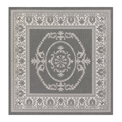 COURISTAN INC - Recife Antique Medallion Grey/ White Rug (7'6 x 7'6) - Transform your pool patio or backyard deck into an oasis of fun with this durable indoor/outdoor rug. The subdued gray color will coordinate with a wide variety of outdoor furnishings, and it is weather resistant, which keeps it looking great.