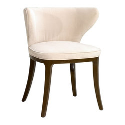 Art Deco Light Cream Dining Chair - The Art Deco Light Crme Fabric Chair will give your room a sophisticated look with its contemporary style. Made of solid wood birch frame from Southwestern Burma, its foam is of high density. Fabric is of TC 318 with legs in dark coffee gloss color. Delivery of this contemporary chair is 6 - 8 weeks.