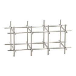 Division Nickel 6-Bottle Wine Rack - Architectural metal grid finished in sleek polished nickel stores six bottles of wine in a geometric configuration. Includes connecting pins to stack multiple racks.