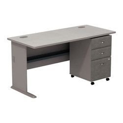 "Bush - Bush Series A 60"" Computer Desk with 3-Drawer File Cabinet in Pewter - Bush - Office Sets - SMA002PESU - Build your custom office one desk at a time. Bush Series A Pewter Finish 60"""" Desk with 3-Drawer File match and fit beautifully with other pieces from the Series A collection. Five-foot width is compact yet offers plenty of working space. Two wire management ports keep cords and cables controlled. Under desk shelf provides a place for such small electronic items as routers and more. Versatile 3-Drawer File puts the benefits of mobile storage at your fingertips. Goes to work anywhere and fits under all Series A desks. Box/box/file configuration lets you store office supplies and letter- legal- or A4-size files. One lock secures file drawer for security. Full-extension ball bearing slides allow easy convenient access to back of drawers.  Stylish elliptical drawer pulls add panache. Bush Furniture10-year warranty."