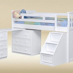 White Loft Bed with steps -