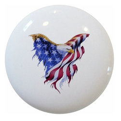 Carolina Hardware and Decor, LLC - Eagle Flag Patriotic Ceramic Knob - 1 1/2 inch white ceramic knob with one inch mounting hardware included.  Great as a cabinet, drawer, or furniture knob.  Adds a nice finishing touch to any room!