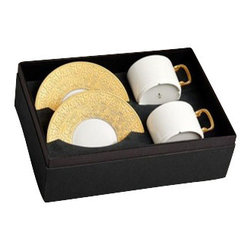 L'Objet - L'Objet Han Gold Tea Cup and Saucer Gift Box - The Han collection recalls the first of China's four great dynasties, a period of tremendous artistic achievement. Each piece recollects that rich and prosperous era while retaining a modern design. Limoges Porcelain. 24K Gold DetailsL'Objet is best known for using ancient design techniques to create timeless, yet decidedly modern serveware, dishes, home decor and gifts.
