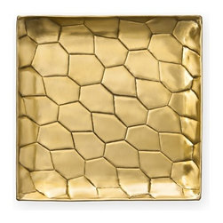 Diane von Furstenberg Powerstone Square Tray - Diane von Furstenberg always seems to pop up with the newest trends. This time the designer has captured her singular style in unique handmade stamped brass trays. Use these fashionable trays to hold your drinks, jewelry, or knickknacks.