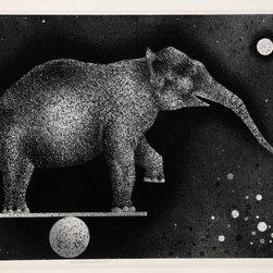 Mario Avati, Elephant Equilibriste, Mezzotint - Artist:  Mario Avati, French (1921 - 2009)