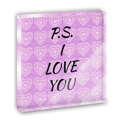 """Made on Terra - PS I Love You on Pink Hearts Pattern Mini Desk Plaque and Paperweight - You glance over at your miniature acrylic plaque and your spirits are instantly lifted. It's just too cute! From it's petite size to the unique design, it's the perfect punctuation for your shelf or desk, depending on where you want to place it at that moment. At this moment, it's standing up on its own, but you know it also looks great flat on a desk as a paper weight. Choose from Made on Terra's many wonderful acrylic decorations. Measures approximately 4"""" width x 4"""" in length x 1/2"""" in depth. Made of acrylic. Artwork is printed on the back for a cool effect. Self-standing."""