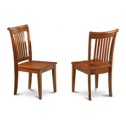 """East West Furniture - Portland Wood Seat Chair in Saddle Brown Finish - Set of 2 - Portland Wood Seat Chair Saddle Brown Finish; Solid wood dining set finished in a warm saddle brown to compliment almost any decor; Chairs are available upholstered in contrasting light fabric; Chair backs have vertical slats with scrolled tops, completing the stylish looks; Weight: 35 lbs; Dimensions: 18""""L x 17""""W x 38.5""""H"""