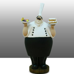 Fat Chef Kitchen Statue Chalkboard Figure Table Art Decor - Beautiful Kitchen Counter Table Top Art Decoration for the Italian Bistro Cook or Restaurant.