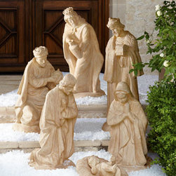 Horchow - Holy Family Statues - Three-piece statue collection of the Holy Family depicts the graceful figures of Mary and Joseph praying over Baby Jesus in a manger. Three Kings shown are sold individually and are not included with the Holy Family. Made of crushed natural stone and p...
