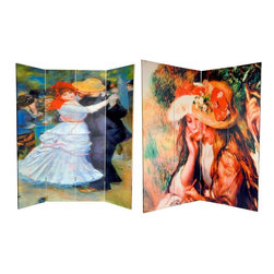 Oriental Furniture - 6 ft. Tall Double Sided Works of Renoir Canvas Room Divider - Dance at Bougival/ - Adorn your home with a pair of classic 19th century impressionist paintings from one of France's most famous and influential impressionist painters, Pierre-August Renoir. The front is the timeless  Dance at Bougival, circa 1883 , with it's bold colors and compelling and subjects. The back is  Two Girls Reading in a Garden, circa 1890 , a serene study of a pair French girls, with colorful hats and rosy cheeks. These lovely fine art prints provide attractive interior design elements for your living room, bedroom, dining room, home office or place of business. This three panel screen has different images on each side, as shown.