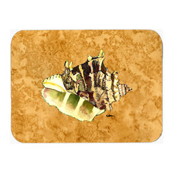 Caroline's Treasures - Shell Kitchen Or Bath Mat 20X30 8658 - Kitchen / Bath Mat 20x30 - 20 inches by 30 inches. Permanently dyed and fade resistant. Great for the Kitchen, Bath, outside the hot tub or just in the door from the swimming pool.    Use a garden hose or power washer to chase the dirt off of the mat.  Do not scrub with a brush.  Use the Vacuum on floor setting.  Made in the USA.  Clean stain with a cleaner that does not produce suds.