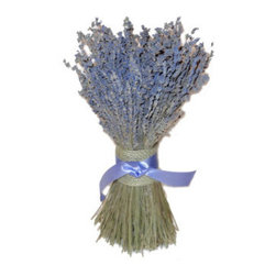Grandin Road - Lavender Stack - Delightful table decoration. Handcrafted from 100% naturally dried lavender. Made for indoor display; keep out of natural sunlight. Arrives ready to hang. Bring the lavender field home when you create a centerpiece or table decoration with our Lavender Stack. You're sure to reap the calming benefits promoted by this fragrant herb. Stems of silvered-blue and purple blossoms are hand-bundled and secured with a burlap and lavender ribbon tie.  .  .  .  . Made in the USA.
