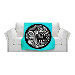 DiaNoche Designs - Throw Blanket Fleece - Abstract Circle Turquoise - Original Artwork printed to an ultra soft fleece Blanket for a unique look and feel of your living room couch or bedroom space.  DiaNoche Designs uses images from artists all over the world to create Illuminated art, Canvas Art, Sheets, Pillows, Duvets, Blankets and many other items that you can print to.  Every purchase supports an artist!