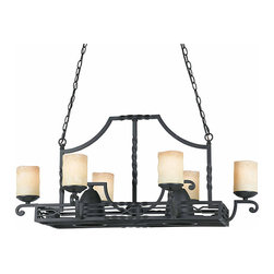 TRIARCH INTERNATIONAL - Triarch International 8-light Blacksmith Bronze Granada Pot Rack Chandelier - Bring a touch of an old-world French kitchen feel to your own kitchen with an eight-light chandelier pot rack made from blacksmith-finished bronze. This chandelier takes eight 100-watt light bulbs for brilliancy and has antique glass shades.