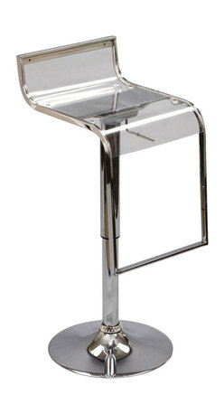 LexMod - LEM Acrylic Bar Stool in Clear - The LEM Style Bar Stool has sleek lines that would be equally impressive in a restaurant or at home. Our premium version has a high quality Italian leather seat. Perfect for entertaining guests at restaurants, your home bar,  or for stylish seating around the kitchen counter.
