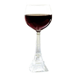 """Home Essentials - Vintage Eiffel Tower Glasses Set of 4 - Red Wine - These elegant Eiffel Tower Wine Glasses combine a unique design with superb functionality. This delightful glassware piece features a stem executed in a shape of Eiffel tower. It makes a lovely gift for a wedding, housewarming party, or any other special event.  * Dimensions: D:3.75"""" H:8.5""""  * Capacity: 10 oz * Dishwasher safe * Set of 4"""