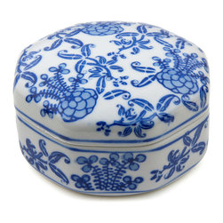 Oriental Furniture - Floral Blue/White Porcelain Jewelry Box - A traditional blue floral design has been painted by hand on this lovely white porcelain box. The Eastern design is complemented with an elegant octagonal shape, which provides extra room for storing your jewelry and other small valuables.