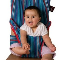TrendyKid TS00 Totseat Striped Travel Highchair - I love this travel chair because it folds up small. It's perfect if you're traveling on a plane or if you need something small enough to carry around in your purse.
