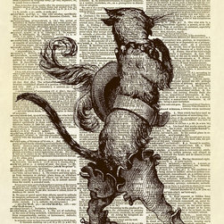 Altered Artichoke - Puss in Boots (Le Chat Bott̩) Dictionary Art Print, Sepia - This print features a beautiful antique illustration of Puss in Boots (or Le Chat Bott̩). Very debonaire with his plumed hat, hip boots, and belt.