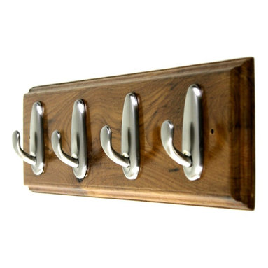 MarktSq - Wooden Hook Rack - Custom made wooden hook rack with three classic chrome hooks and detailed edging. This is a one of a kind piece made exclusively for us. Has two pre-drilled holes. Other hardware not included.